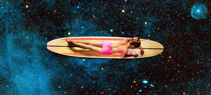 Κολάζ με τίτλο «Pleiadian surfer» από τη συλλογή «Worshiped Women»