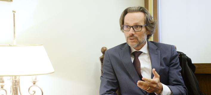 Ο Γερμανός Πρέσβης Γενς Πλέτνερ /Φωτογραφία: Eurokinissi