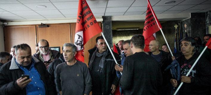 Εισβολή ΠΟΕ-ΟΤΑ στο υπουργείο Εργασίας/Φωτογραφία: Eurokinissi