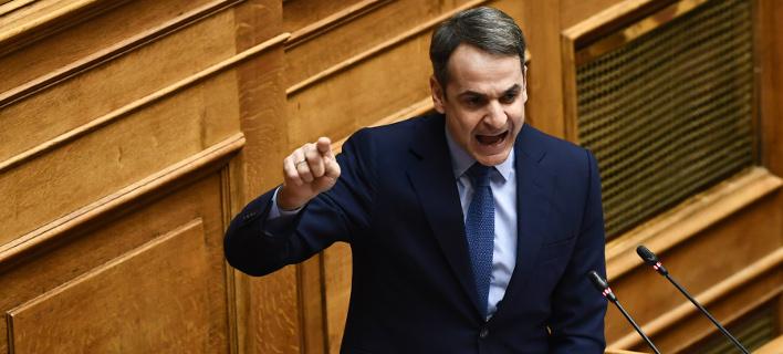 Ο πρόεδρος της Νέας Δημοκρατίας Κυριάκος Μητσοτάκης στην ομιλία του στην Ολομέλεια της Βουλής- φωτογραφία intimenews