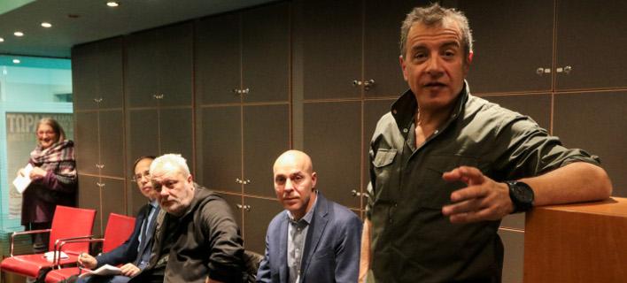 Από αριστερά: Γ. Μαυρωτάς, Γρ. Ψαριανός, Γ. Αμυράς και Στ. Θεοδωράκης -Φωτογραφία: EUROKINISSI/ΧΡΗΣΤΟΣ ΜΠΟΝΗΣ