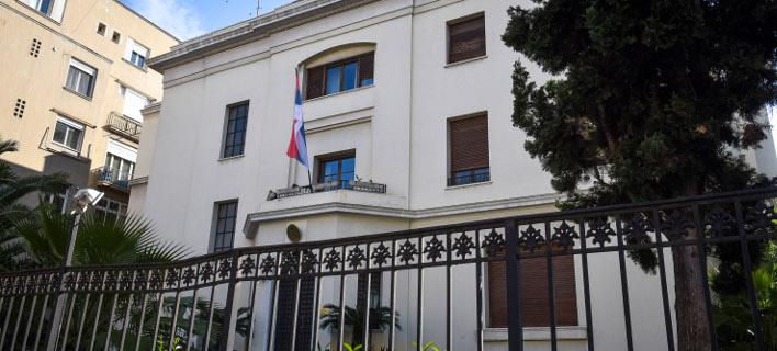 Η πρεσβεία της Σερβίας στην Αθήνα /Φωτογραφία: Eurokinissi-Τατιάνα Μπόλαρη