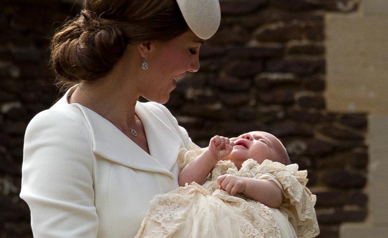 Στιγμιότυπο από τη βάφτιση της πριγκίπισσας Σάρλοτ. Φωτογραφία: AP