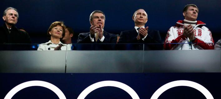 Ο Ρώσος πρόεδρος Πούτιν στην τελετή έναρξης της χειμερινής Ολυμπιάδας του Σότσι το 2014 (Φωτογραφία: ΑΡ)