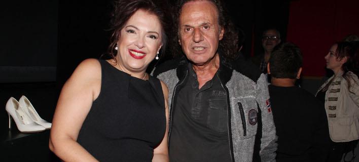 Η Ελένη Ράντου με τον Βασίλη Παπακωνσταντίνου στην πρεμιέρα της παράστασης «Φιλουμένα». Φωτογραφία: ndpphotos