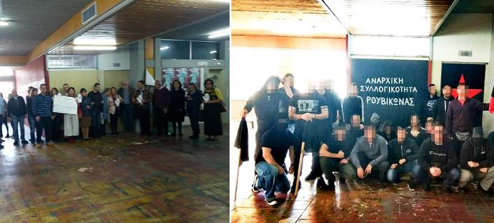 Οι καθηγητές της Φιλοσοφικής / Τα μέλη του Ρουβίκωνα / Φωτογραφίες: Intimenews