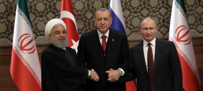 Οι πρόεδροι Ιράν, Τουρκίας και Ρωσίας, Ρουχανί, Ερντογάν και Πούτιν (Φωτογραφία: ΑΡ)