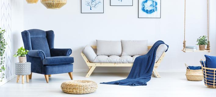 Σαλόνι σε μπλε χρώμα /Φωτογραφία: Shutterstock