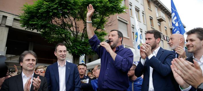 Ο ηγέτης της ακροδεξιάς Λέγκας του Βορρά και υπουργός Εσωτερικών της Ιταλίας, Ματέο Σαλβίνι (Φωτογραφία: ΑΡ)
