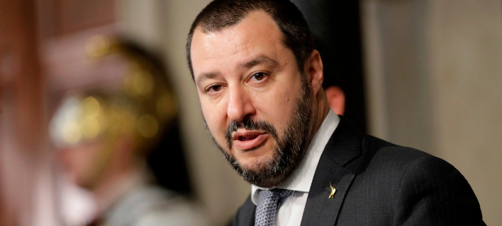 O Ιταλός υπουργός Εσωτερικών, Ματέο Σαλβίνι (Φωτογραφία αρχείου: ΑΡ)