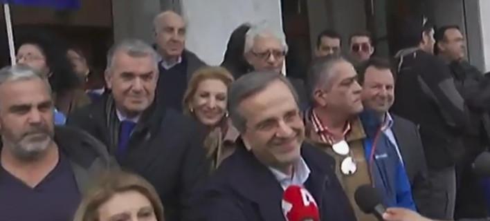 O Αντώνης Σαμαράς δίνει το «παρών» στο συλλαλητήριο / Φωτογραφία: SKAI - WebTV