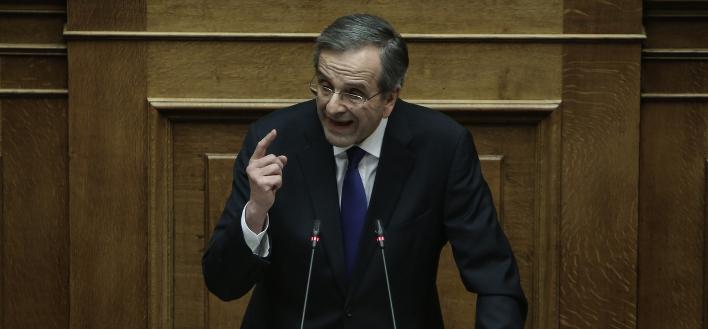 Ο Αντώνης Σαμαράς στο βήμα της Βουλής -Φωτογραφία: George Vitsaras / SOOC