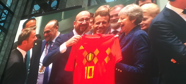 Ο Σαρλ Μισέλ με φανέλα του Βελγίου στη Σύνοδο Κορυφής (Φωτογραφία: Twitter)