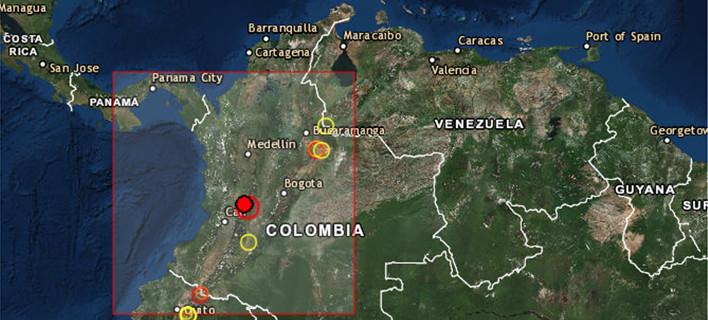 Το σημείο όπου χτύπησε ο σεισμός στην Κολομβία