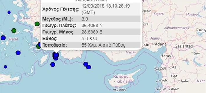 3,9 Ρχτερ στα τουρκικά παράλια -Αισθητός στη Ρόδο