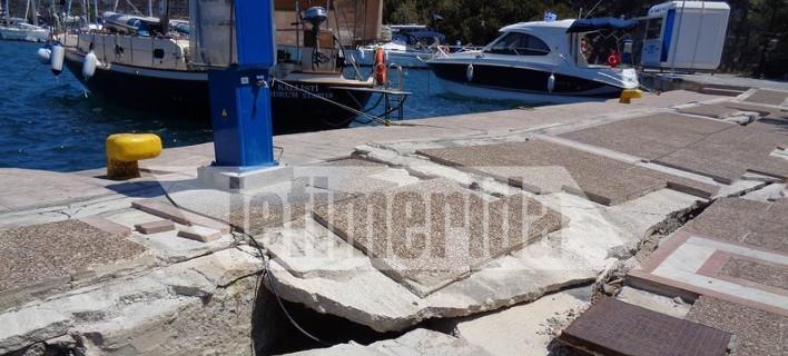 Κατεστραμμένη παραμένει η προβλήτα στο λιμάνι της Κω