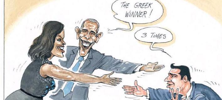 Οταν ο Ομπάμα σύστησε τον Τσίπρα στη Μισέλ και εκείνη τον μπέρδεψε με τον... Ολυμπιακό [σκίτσο]