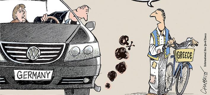 Η Ελλάδα ειρωνεύεται την Μέρκελ για την VW -Το σκίτσο των NYT για το σκάνδαλο [εικόνα]