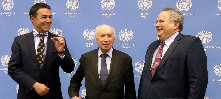 Το παρασκήνιο των διαβουλεύσεων Κοτζιά-Ντιμιτρόφ υπό τον Νίμιτς στον ΟΗΕ -Φωτογραφία: AP Photo/Ronald Zak