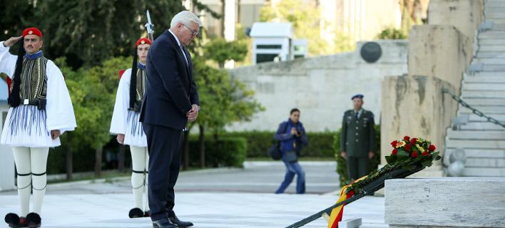 Ο Γερμανός πρόεδρος καταθέτει στεφάνι στον Αγνωστο Στρατιώτη -Φωτογραφία:Intimenews/ΚΑΠΑΝΤΑΗΣ ΔΗΜΗΤΡΗΣ