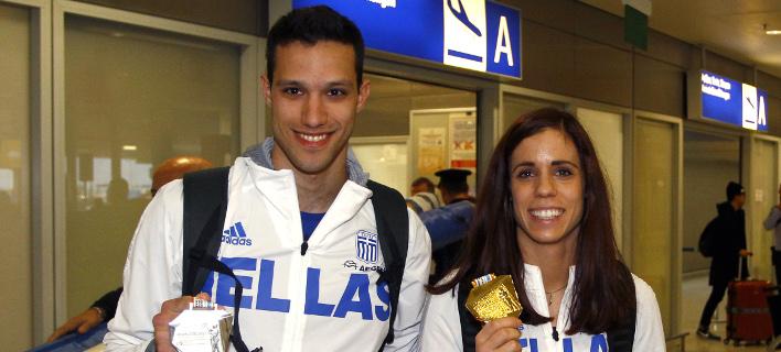 Ο Κώστας Φιλιππίδης και η Κατερίνα Στεφανίδη (Φωτογραφία: Eurokinissi Sports - ΔΗΜΟΠΟΥΛΟΣ ΘΑΝΑΣΗΣ)