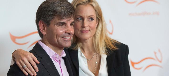 Ο Τζορτζ Στεφανόπουλος με την σύζυγό του, Άλι Γουέντγουορθ. Φωτογραφία: AP