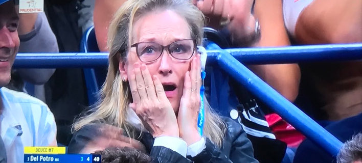Η επική αντίδραση της Μέριλ Στριπ στον τελικό ανδρών του U.S. Open. Φωτογραφία: Twitter