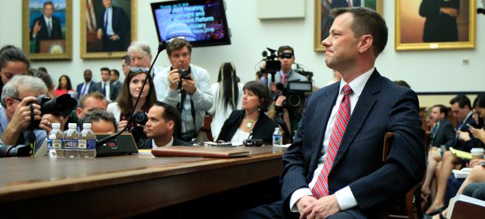 Ο πράκτορας του FBI Πίτερ Στρζοκ κατά την ακρόασή του στη Βουλή των Αντιπροσώπων (Φωτογραφία: ΑΡ)