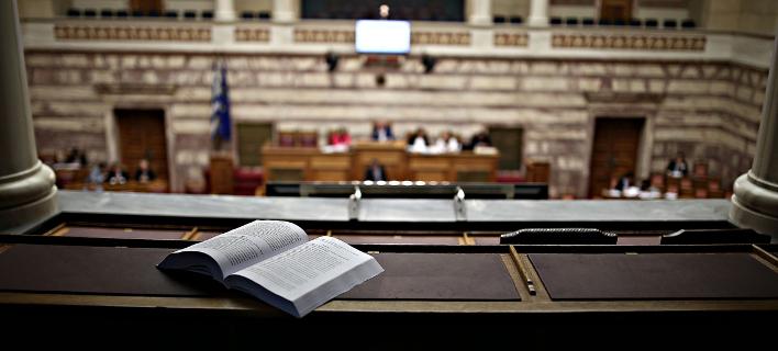 Η αίθουσα της ολομέλειας στη Βουλή / Φωτογραφία: Menelaos Myrillas / SOOC