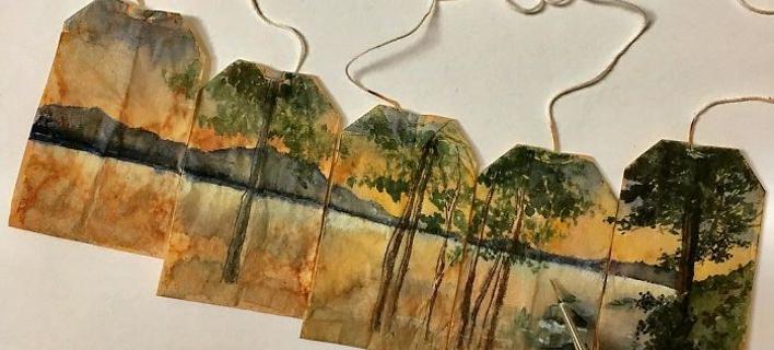 Δάσος ζωγραφισμένο σε φακελάκια τσαγιού, από την Ruby Silvious