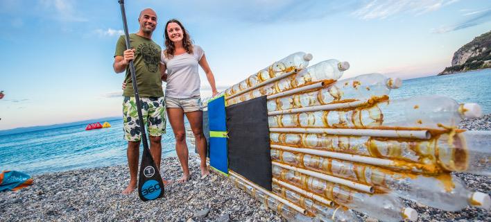 Στη Σκιάθο οι ακτιβιστές με τη σχεδία από πλαστικά μπουκάλια [εικόνες]
