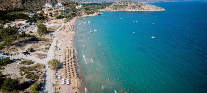 Η παραλία του Τολό στην Αργολίδα από ψηλά-Φωτογραφία: Eurokinissi/Αντώνης Νικολόπουλος