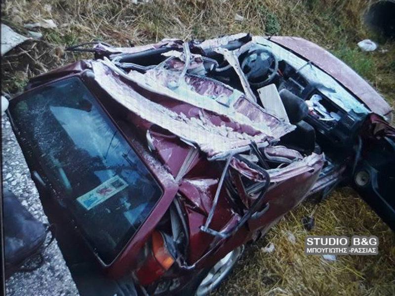 troxaio1aa iefimerida - Ναύπλιο: Αυτοκίνητο σφήνωσε σε τσιμεντένιο γεφυράκι - Νεκρός ο οδηγός. (Φώτο)
