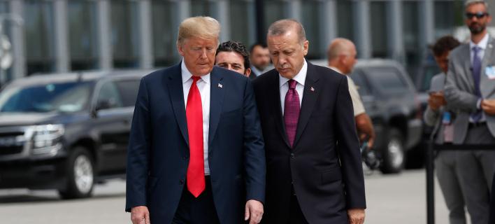 Οι πρόεδροι ΗΠΑ και Τουρκίας, Ντόναλντ Τραμπ και Ταγίπ Ερντογάν (Φωτογραφία: ΑΡ//Pablo Martinez Monsivais)