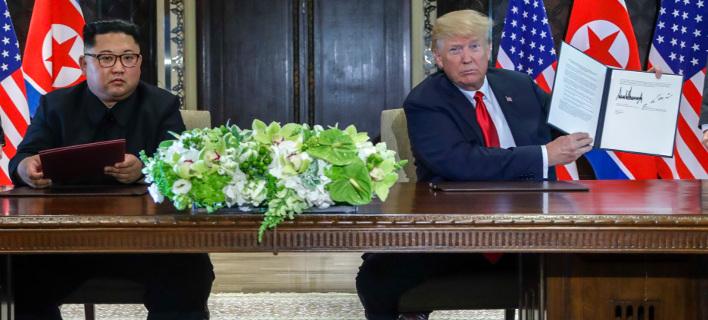 Κιμ Γιονγκ Ουν, Ντόναλντ Τραμπ /Φωτογραφίά: ΑΡ
