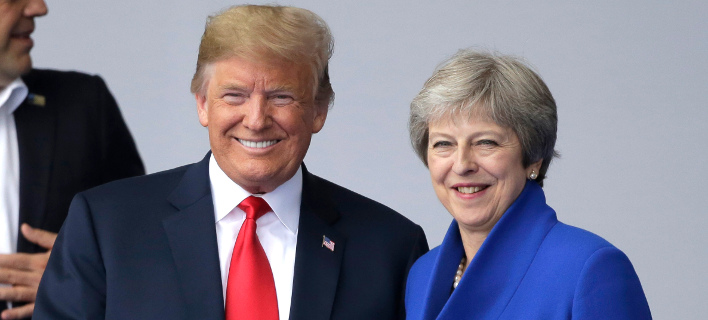 O πρόεδρος των ΗΠΑ, Τραμπ και η πρωθυπουργός της Βρετανίας, Μέι (Φωτογραφία: ΑΡ)