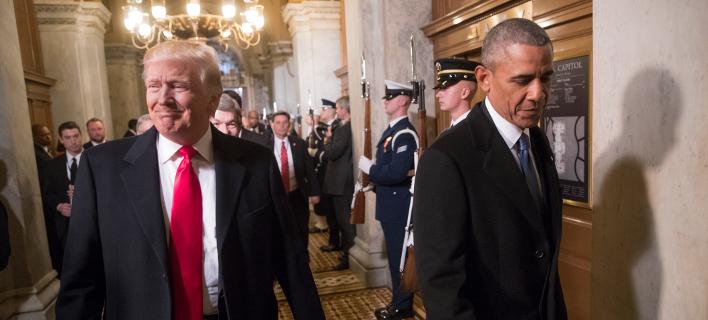 O νυν και ο τέως πρόεδρος των ΗΠΑ (Φωτογραφία: ΑΡ)