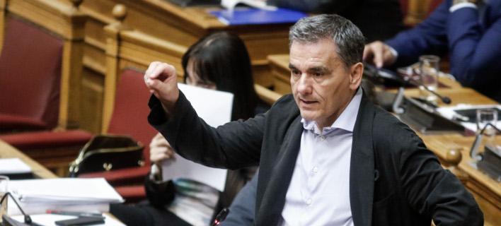 Ο υπουργός Οικονομικών, Ευκλείδης Τσακαλώτος κατά τη συζήτηση του πολυνομοσχεδίου στη Βουλή/  Φωτογραφία: Eurokinissi