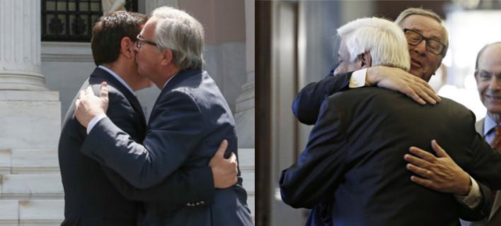 Ο εκδηλωτικός κύριος Γιούνκερ -Τρέλανε στις αγκαλιές και στα φιλιά Τσίπρα και Παυλόπουλο [εικόνες]
