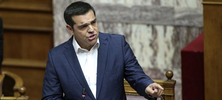 Ο Αλέξης Τσίπρας στη Βουλή για το Σκοπιανό -Φωτογραφία: Nikos Libertas / SOOC