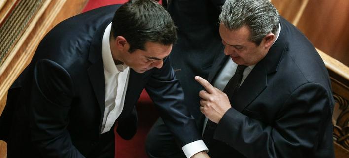 Ο Αλέξης Τσίπρας και ο Πάνος Καμμένος στη Βουλή / Φωτογραφία: Menelaos Myrillas / SOOC
