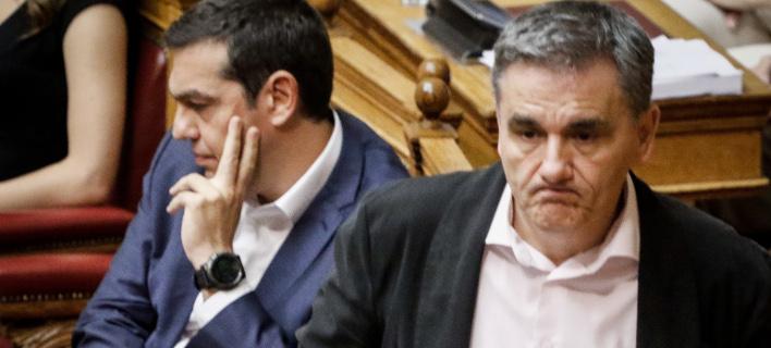Ο Αλέξης Τσίπρας και ο Ευκλείδης Τσακλώτος στη Βουλή / Φωτογραφία: Eurokinissi/ΚΟΝΤΑΡΙΝΗΣ ΓΙΩΡΓΟΣ