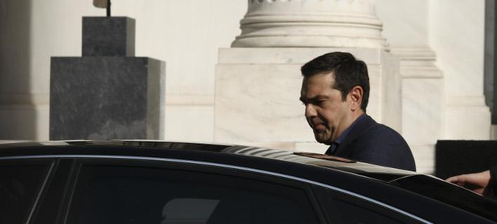 Ο Αλέξης Τσίπρας στο Μαξίμου /Φωτογραφία: Intime news