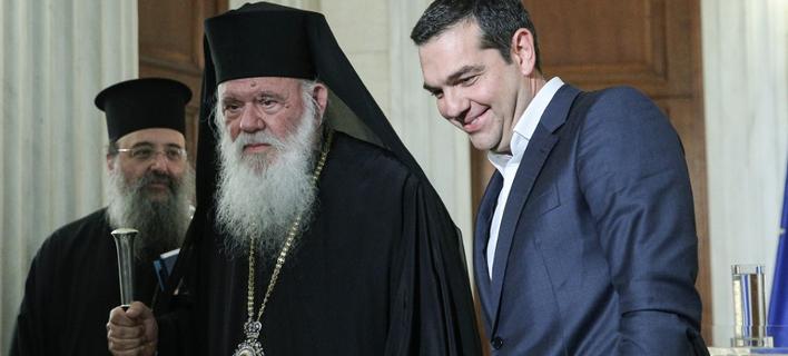 Στο Μέγαρο Μαξίμου ο Ιερώνυμος με τον Αλέξη Τσίπρα / Φωτογραφία:  George Vitsaras / SOOC