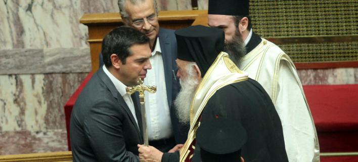 Αρχιεπίσκοπος Ιερώνυμος & Αλέξης Τσίπρας (Φωτογραφία: Eurokinissi/ΧΡΗΣΤΟΣ ΜΠΟΝΗΣ)
