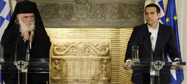 Ο Αρχιεπίσκοπος Ιερώνυμος και ο πρωθυπουργός Αλέξης Τσίπρας / Φωτογραφία: Intimenews