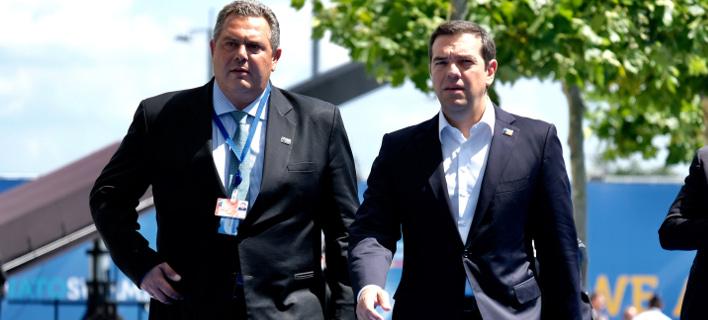 Ο πρωθυπουργός Αλέξης Τσίπρας με τον αρχηγό των ΑΝΕΛ Πάνο Καμμένο / Φωτογραφία: EUROKINISSI