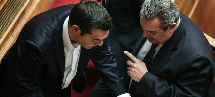 Ο Αλέξης Τσίπρας και ο Πάνος Καμμένος στη Βουλή / Φωτογραφία: Menelaos Myrillas (SOOC)