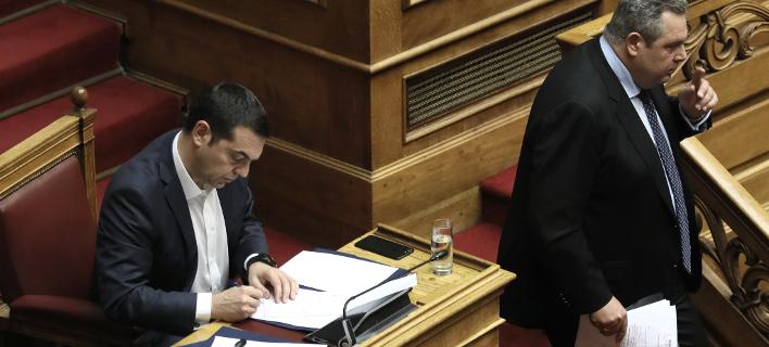 Ο Αλέξης Τσίπρας και ο Πάνος Καμμένος / Φωτογραφία: Intimenews