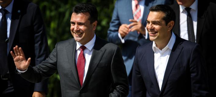 Αλέξης Τσίπρας και Ζόραν Ζάεφ στις Πρέσπες/Φωτογραφία: Eurokinissi